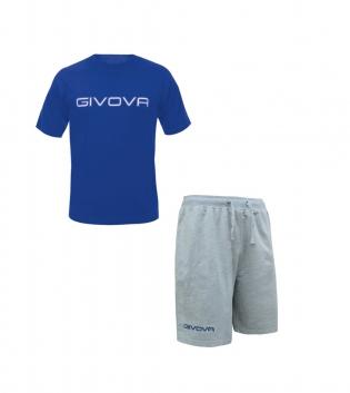 Completo Outfit Tuta GIVOVA Bermuda Friend T-Shirt Spot Azzurro Grigio Uomo Donna Bambino GIOSAL