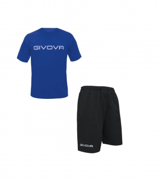 Completo Outfit Tuta GIVOVA Bermuda Friend Azzurro Nero T-Shirt Spot Uomo Donna Bambino GIOSAL