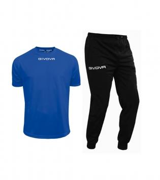 Outfit Givova Uomo Donna Bambino Completo Tuta T-Shirt Pantalone Givova One Unisex Azzurro Nero GIOSAL