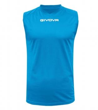 New Shirt Smanicato Givova One Uomo Stampa Tinta Unita Sport GIOSAL-Azzurro-S