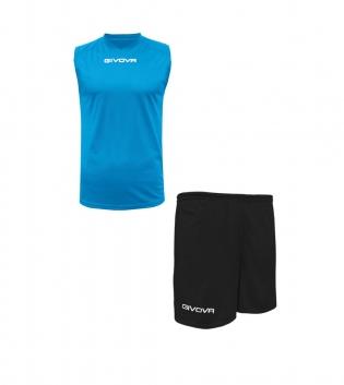 Outfit Givova Completo Bermuda Azzurro Nero Givova One Shirt Smanicato Uomo Donna Unisex GIOSAL