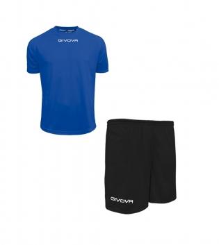 Outfit Givova Completo Pantaloncini T-Shirt Givova One Unisex Azzurro Nero Uomo Donna Bambino GIOSAL-Azzurro-Nero-4XS