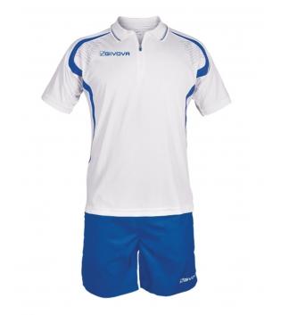 Completo Tuta Givova New Kit Easy Polo Pantaloncini Uomo Bambino GIOSAL-Bianco/Azzurro-2XS