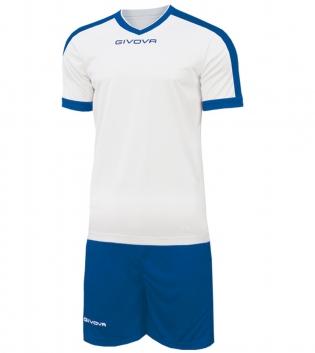 Kit Revolution Calcio Sport GIVOVA Abbigliamento Sportivo Uomo Calcistico GIOSAL-Bianco/Azzurro-4XS