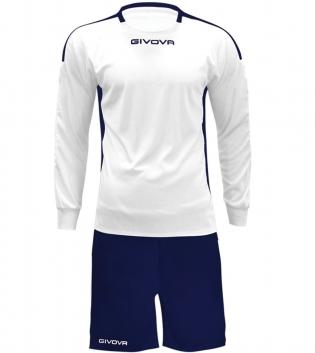 Kit Revolutio Calcio Sport GIVOVA Manica Lunga Sportivo Uomo Bambino Calcistico GIOSAL-Bianco/Blu-XL