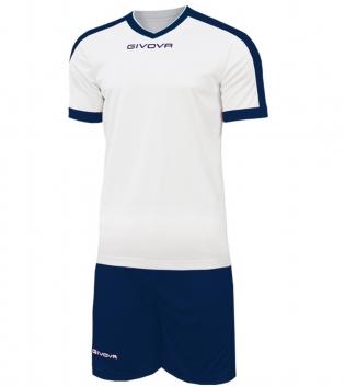Kit Revolution Calcio Sport GIVOVA Abbigliamento Sportivo Uomo Calcistico GIOSAL-Bianco/Blu-4XS