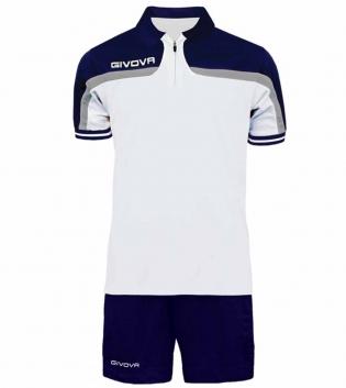 Completo Tuta Givova Kit Fast Polo Pantaloncini Blu Bianco Bicolore Completino Free Time GIOSAL-Bianco/Blu-S