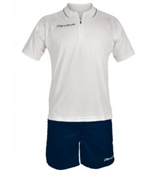Completo Tuta Givova New Kit Easy Polo Pantaloncini Uomo Bambino GIOSAL-Bianco/Blu-3XS