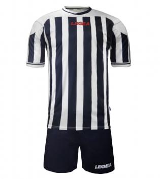 Kit Uomo LEGEA Calcio Salonicco Righe Uomo Bambino Calcetto GIOSAL-Bianco-Blu-M