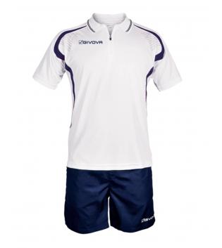 Completo Tuta Givova Kit Easy Polo Pantaloncini Uomo Bambino Team GIOSAL-Bianco/Blu-2XS
