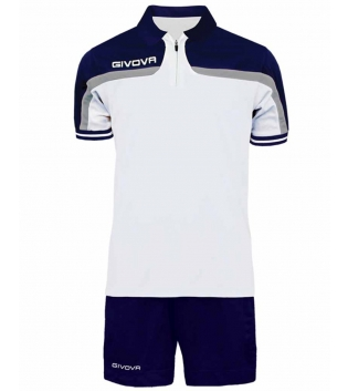 Completo Tuta Givova New Kit Fast Polo Pantaloncini Blu Bianco Bicolore Completino Free Time GIOSAL-Bianco/Blu-S