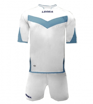 Kit Aragona LEGEA Completo Sport Sportivo Calcio Completino Uomo Bambino GIOSAL-Bianco-Celeste-3XS