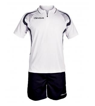 Completo Tuta Givova New Kit Easy Polo Pantaloncini Uomo Bambino GIOSAL-Bianco/Nero-2XS