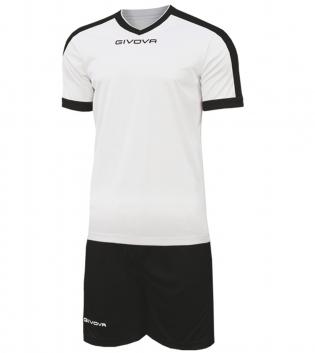 Kit Revolution Calcio Sport GIVOVA Abbigliamento Sportivo Uomo Calcistico GIOSAL-Bianco/Nero-3XS