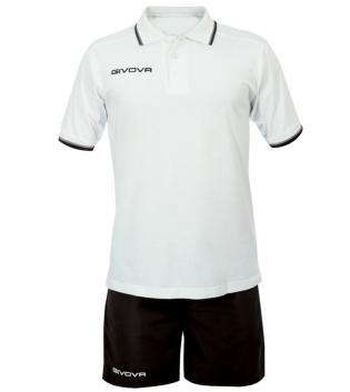 Completo Tuta Givova Kit Street Uomo Bambino Polo Pantaloncini Completino GIOSAL-Bianco/Nero-3XS
