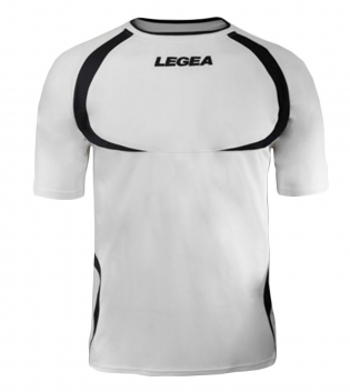 Maglia Uomo Calcio Sport LEGEA Taipei Abbigliamento Uomo Bambino Sportivo Calcistico GIOSAL-Bianco-Nero-3XS