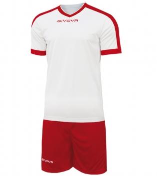 Kit Revolution Calcio Sport GIVOVA Abbigliamento Sportivo Uomo Calcistico GIOSAL-Bianco/Rosso-4XS