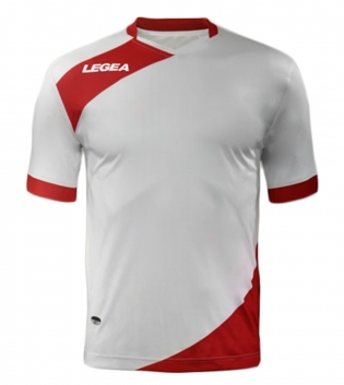 Maglia Uomo Calcio Sport LEGEA Abbigliamento Sportivo Calcistico Uomo Bambino GIOSAL-Bianco-Rosso-S