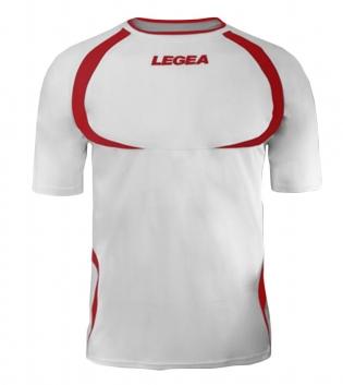 Maglia Uomo Calcio Sport LEGEA Taipei Abbigliamento Uomo Bambino Sportivo Calcistico GIOSAL-Bianco-Rosso-3XS