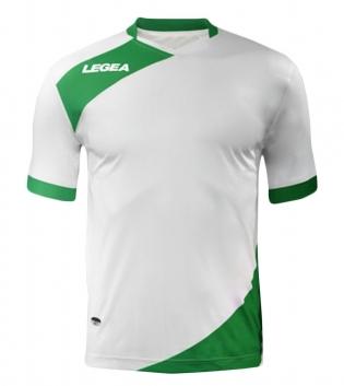 Maglia Uomo Calcio Sport LEGEA Abbigliamento Sportivo Calcistico Uomo Bambino GIOSAL-Bianco-Verde-3XS