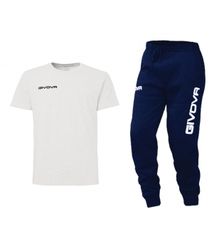 Outfit Completo Givova Tuta T-Shirt Fresh Pantalone Cotone Bianco Blu Uomo Donna Bambino Unisex GIOSAL
