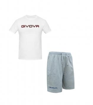Completo Outfit Tuta GIVOVA Bermuda Friend T-Shirt Spot Bianco Grigio Uomo Donna Bambino GIOSAL