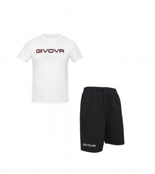 Completo Outfit Tuta GIVOVA Bianco Nero Bermuda Friend T-Shirt Spot Uomo Donna Bambino GIOSAL-Bianco-Nero-S