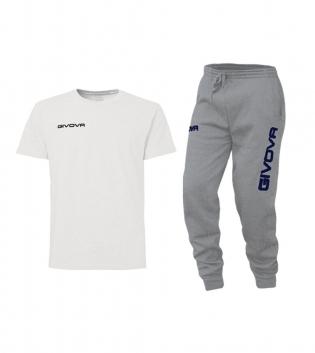Outfit Completo Givova Tuta T-Shirt Fresh Pantalone Cotone Bianco Grigio Uomo Donna Bambino Unisex GIOSAL