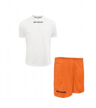 Outfit Givova Completo Pantaloncini T-Shirt Givova One Bianco Arancio Uomo Donna Bambino GIOSAL-Bianco-4XS