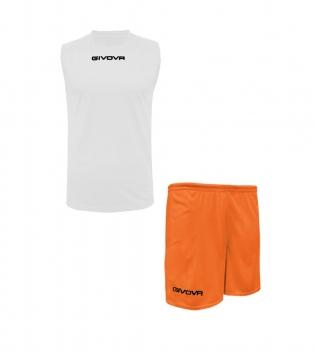 Outfit Givova Completo Bermuda Givova One Bianco Arancio Fluo Shirt Smanicato Uomo Donna Unisex GIOSAL