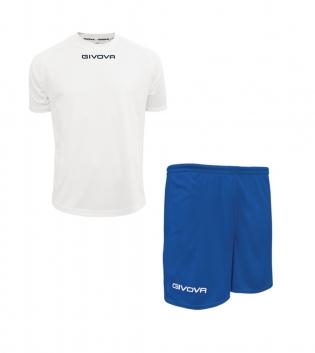 Outfit Givova Completo Pantaloncini T-Shirt Givova One Bianco Azzurro Uomo Donna Bambino GIOSAL-Bianco-Azzurro-4XS