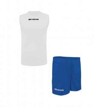 Outfit Givova Completo Bianco Azzurro Bermuda Givova One Shirt Smanicato Unisex Uomo Donna GIOSAL-Bianco-Azzurro-S