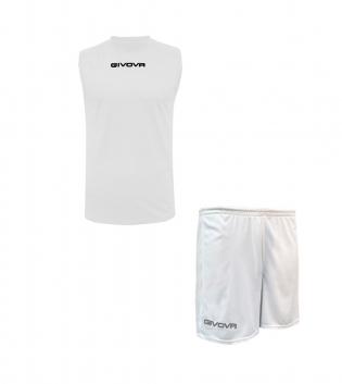 Outfit Givova Completo Bermuda Bianco Givova One Shirt Smanicato Donna Uomo Unisex GIOSAL-Bianco-S