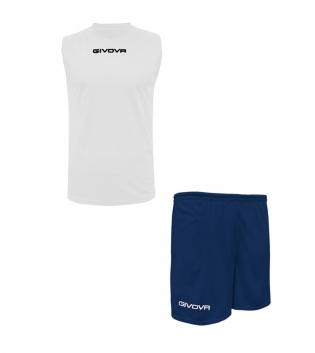 Outfit Givova Completo Bermuda Givova One Shirt Smanicato Bianco Blu Donna Uomo Unisex GIOSAL