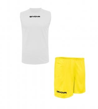 Outfit Givova Completo Bermuda Bianco Giallo Shirt Smanicato Givova One Donna Uomo Unisex GIOSAL