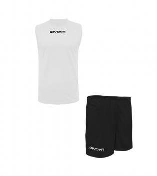 Outfit Givova Completo Bermuda Givova One Shirt Smanicato Bianco Nero Donna Uomo Unisex GIOSAL-Bianco-Nero-S