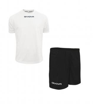 Outfit Givova Completo Pantaloncini T-Shirt Givova One Bianco Nero Uomo Donna Bambino GIOSAL