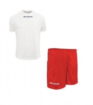 Outfit Givova Completo Bianco Rosso  Pantaloncini T-Shirt Givova One Uomo Donna Bambino GIOSAL