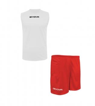 Outfit Givova Completo Bermuda Bianco Rosso Givova One Shirt Smanicato Donna Uomo Unisex GIOSAL-Bianco-Rosso-S
