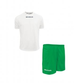 Outfit Givova Completo Pantaloncini Bianco Verde Unisex T-Shirt Givova One Uomo Donna Bambino GIOSAL