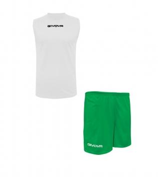 Outfit Givova Completo Bermuda Bianco Verde Givova One Shirt Smanicato Donna Uomo Unisex GIOSAL