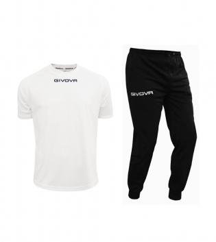 Outfit Givova Uomo Donna Bambino Completo Tuta Bianco Nero T-Shirt Pantalone Givova One Unisex GIOSAL