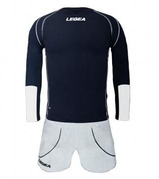 Kit Uomo Calcio LEGEA Lione Completino Calcetto Squadra Abbigliamento Sport GIOSAL-Blu-Bianco-XL