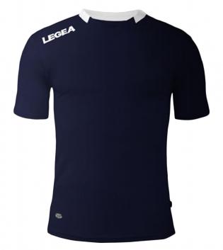 Maglia Sport Calcio LEGEA Monaco Manica Corta Tinta Unita Abbigliamento Sportivo GIOSAL-Blu-Bianco-XS