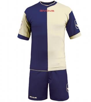 Kit Combo GIVOVA Completino Calcio Sport Sportivo Calcetto GIOSAL-Blu/Bianco-M