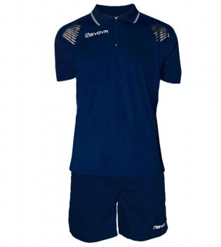Completo Tuta Givova Kit Easy Polo Pantaloncini Uomo Bambino Team GIOSAL-Blu/Bianco-2XS