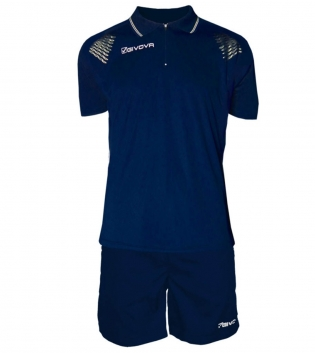 Completo Tuta Givova New Kit Easy Polo Pantaloncini Uomo Bambino GIOSAL-Blu/Bianco-2XS