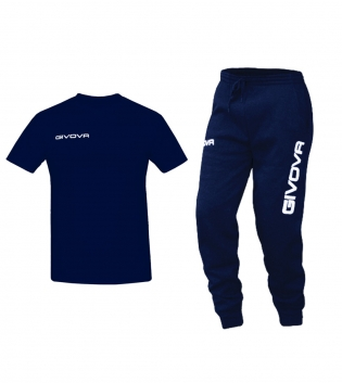 Outfit Completo Givova Tuta T-Shirt Fresh Pantalone Cotone Blu Uomo Donna Bambino Unisex GIOSAL