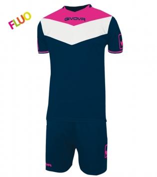 Kit Calcio GIVOVA Campo Fluo Completino Football Sport Sportivo GIOSAL-Blu/FuxiaFluo-2XS