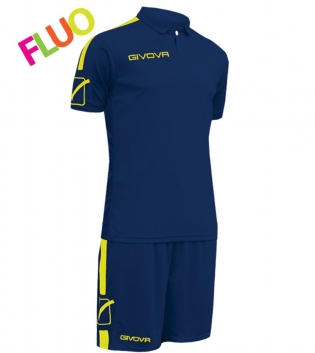Kit Play Calcio Sport GIVOVA Abbigliamento Sportivo Uomo Calcistico GIOSAL-Blu/GialloFluo-M